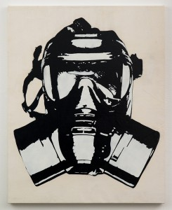 Blek le Rat  &nbsp -  <strong>Masque à Gaz</strong> (2013<strong style = 'color:#635a27'></strong>)<bR /> spray paint on canvas,   46 x 36 inches  (116.84 x 91.44 cm)