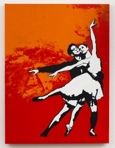 Blek le Rat    -  <strong>One Last Dance</strong> (2013<strong style = 'color:#635a27'></strong>)<bR /> spray paint on canvas,   40 x 30 inches  (101.6 x 76.2 cm)