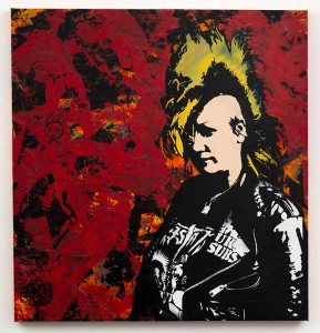 Blek le Rat    -  <strong>Le Petite Punkette</strong> (2013<strong style = 'color:#635a27'></strong>)<bR /> spray paint on canvas,   40 x 38 inches  (101.60 x 96.52 cm)