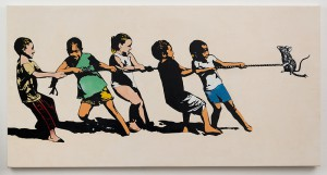 Blek le Rat    -  <strong>Rope Pulling</strong> (2013<strong style = 'color:#635a27'></strong>)<bR /> spray paint on canvas,   36 x 72 inches  (91.44  x 182.88 cm)