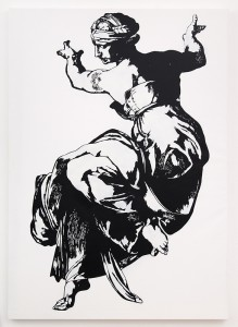 Blek le Rat    -  <strong>Sibyl</strong> (2013<strong style = 'color:#635a27'></strong>)<bR /> spray paint on canvas,   76 x 52 inches  (193.04 x 132.08 cm)