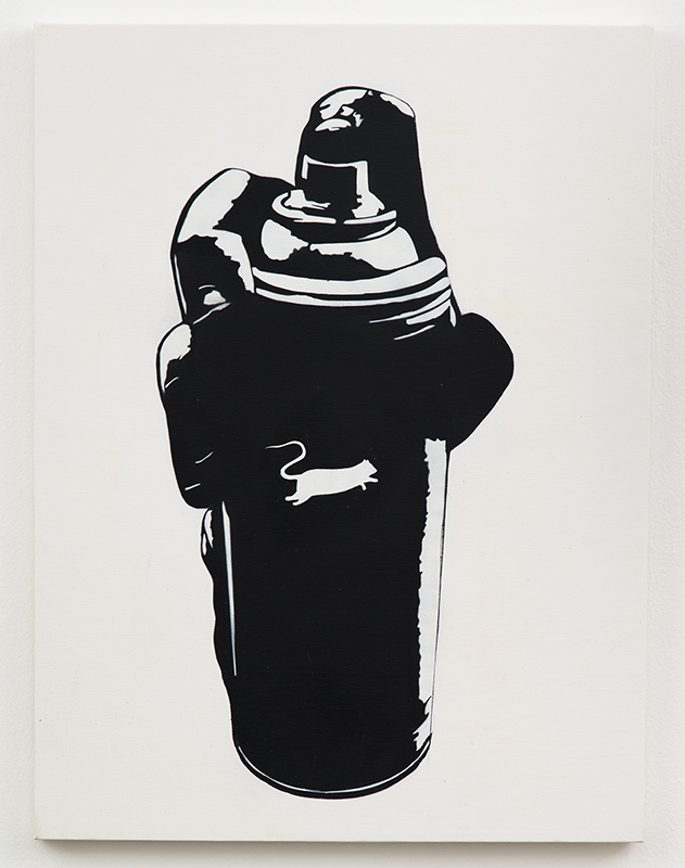 Blek le Rat  &nbsp -  <strong>Spray Can</strong> (2013<strong style = 'color:#635a27'></strong>)<bR /> spray paint on canvas,   40 x 30 inches  (101.6 x 76.2 cm)