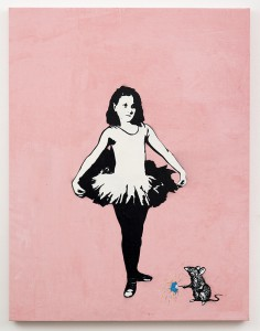 Blek le Rat  &nbsp -  <strong>Sweet Dreams</strong> (2013<strong style = 'color:#635a27'></strong>)<bR /> spray paint on canvas,   52 x 40 inches  (132.08 x 101.60 cm)