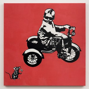 Blek le Rat    -  <strong>The Big Race</strong> (2013<strong style = 'color:#635a27'></strong>)<bR /> spray paint on canvas,   40 x 40 inches  (101.6 x 101.6 cm)