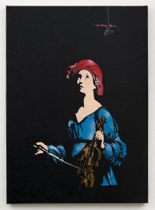 Blek le Rat  &nbsp -  <strong>Bedtime Stories</strong> (2013<strong style = 'color:#635a27'></strong>)<bR /> spray paint on canvas,   46 x 36 inches  (116.84 x 91.44 cm)