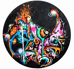 Boleta   -  <strong>Black</strong> (<strong style = 'color:#635a27'></strong>)<bR /> Mixed Media on Canvas,   12 inches in diameter