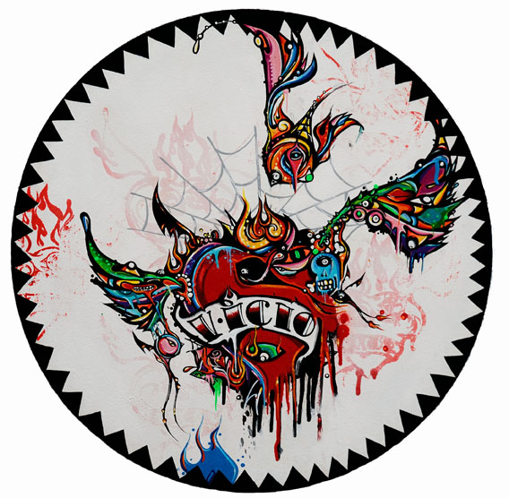 Boleta  &nbsp -  <strong>White Vicio</strong> (<strong style = 'color:#635a27'></strong>)<bR /> Mixed Media on Canvas,   21 1/2 inches in diameter