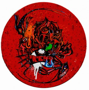 Boleta   -  <strong>Lost</strong> (<strong style = 'color:#635a27'></strong>)<bR /> Mixed Media on Canvas,   12 inches in diameter