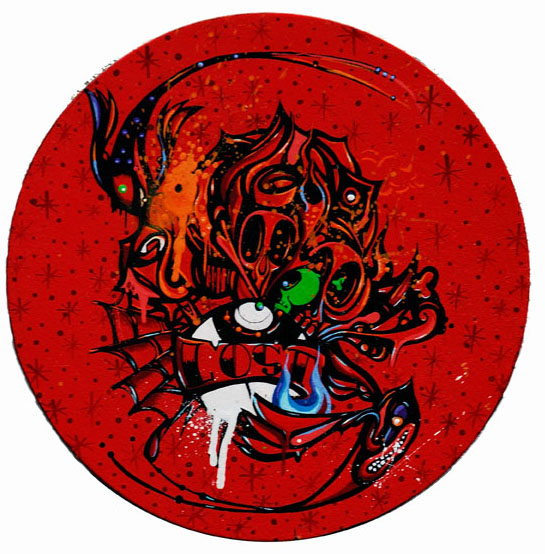 Boleta  &nbsp -  <strong>Lost</strong> (<strong style = 'color:#635a27'></strong>)<bR /> Mixed Media on Canvas,   12 inches in diameter
