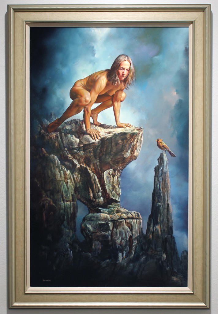Boris  Vallejo -  <strong>A Bird's Eye View</strong> (2014<strong style = 'color:#635a27'></strong>)<bR /> oil on artist's board,   39 x 24 inches  (99.06 x 60.96 cm)