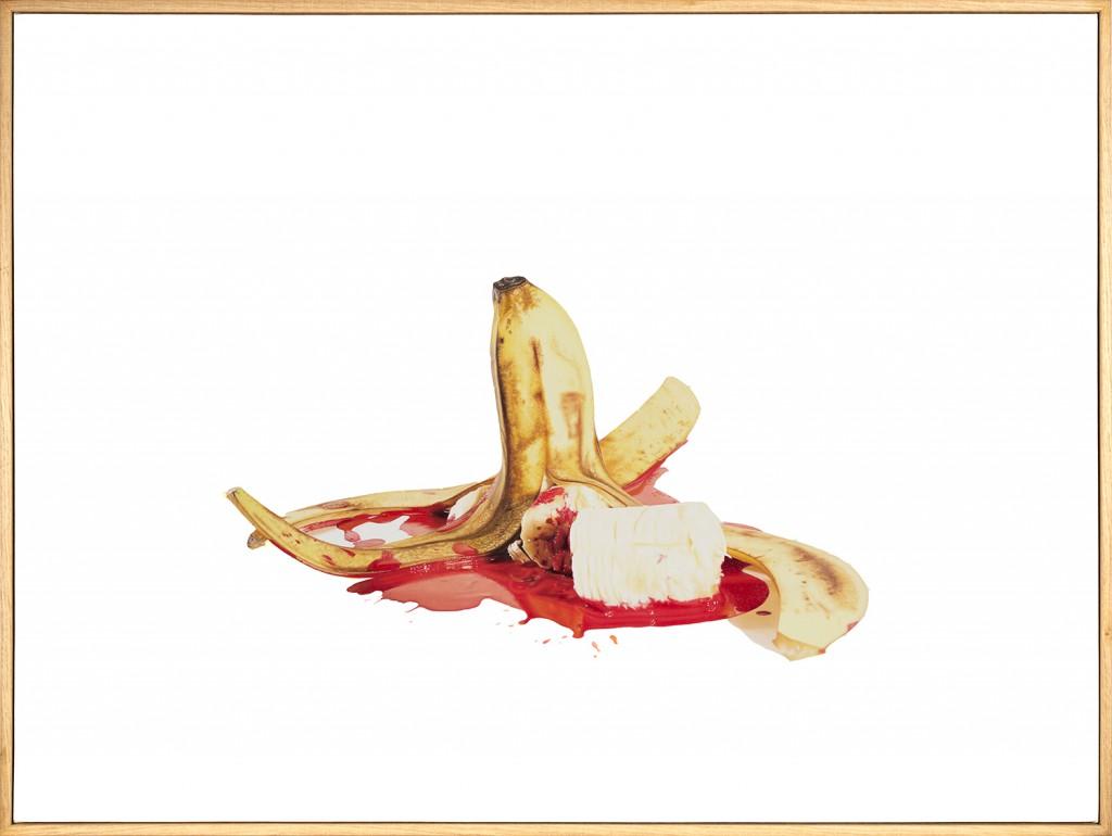 DOTDOTDOT  &nbsp -  <strong>Banana Split</strong> (2015<strong style = 'color:#635a27'></strong>)<bR /> oil on linen,   32.25 x 43.25 inches  (79.38 x 107.32 cm)