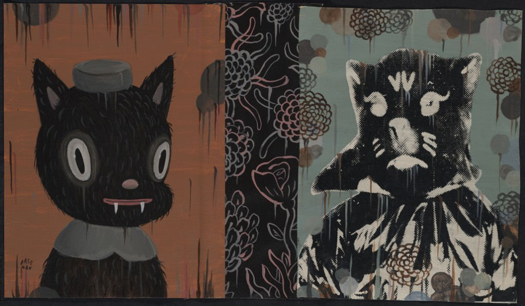 Gary  Baseman -  <strong>Abracadabra (In Memoriam)</strong> (2011<strong style = 'color:#635a27'></strong>)<bR /> mixed media on canvas,   16 x 28 inches (40.64 x 71.12 cm)  19 x 31.25 inches, framed