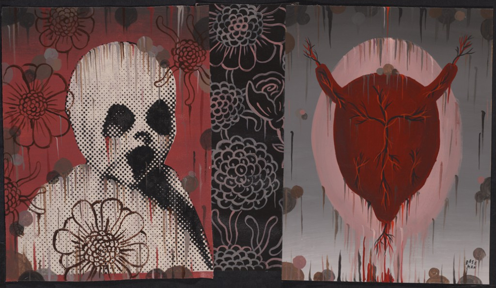 Gary  Baseman -  <strong>Authentic Voice (In Memoriam)</strong> (2011<strong style = 'color:#635a27'></strong>)<bR /> mixed media on canvas,   16 x 28 inches (40.64 x 71.12 cm)  19 x 31.25 inches, framed