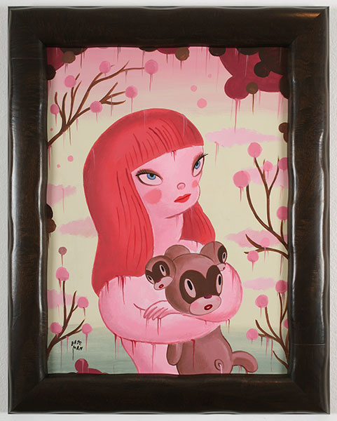 Gary  Baseman -  <strong>The Blossoming of the Chou</strong> (2010<strong style = 'color:#635a27'></strong>)<bR /> acrylic on canvas,   24 x 18 in. (61 x 45.7 cm)  29.25 x 23.25 in. framed