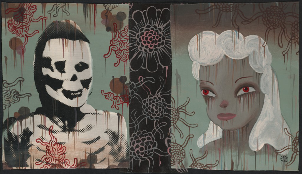 Gary  Baseman -  <strong>Bunny 1 (In Memoriam)</strong> (2011<strong style = 'color:#635a27'></strong>)<bR /> mixed media on canvas,   16 x 28 inches (40.64 x 71.12 cm)  19 x 31.25 inches, framed