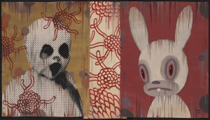Gary  Baseman -  <strong>Bunny 2 (In Memoriam)</strong> (2011<strong style = 'color:#635a27'></strong>)<bR /> mixed media on canvas,   16 x 28 inches (40.64 x 71.12 cm)  19 x 31.25 inches, framed
