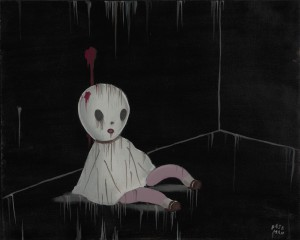 Gary  Baseman -  <strong>Cherry</strong> (2011<strong style = 'color:#635a27'></strong>)<bR /> acrylic on canvas,   16 x 20 inches (40.64 x 50.8 cm)  21.5 x 25 inches, framed