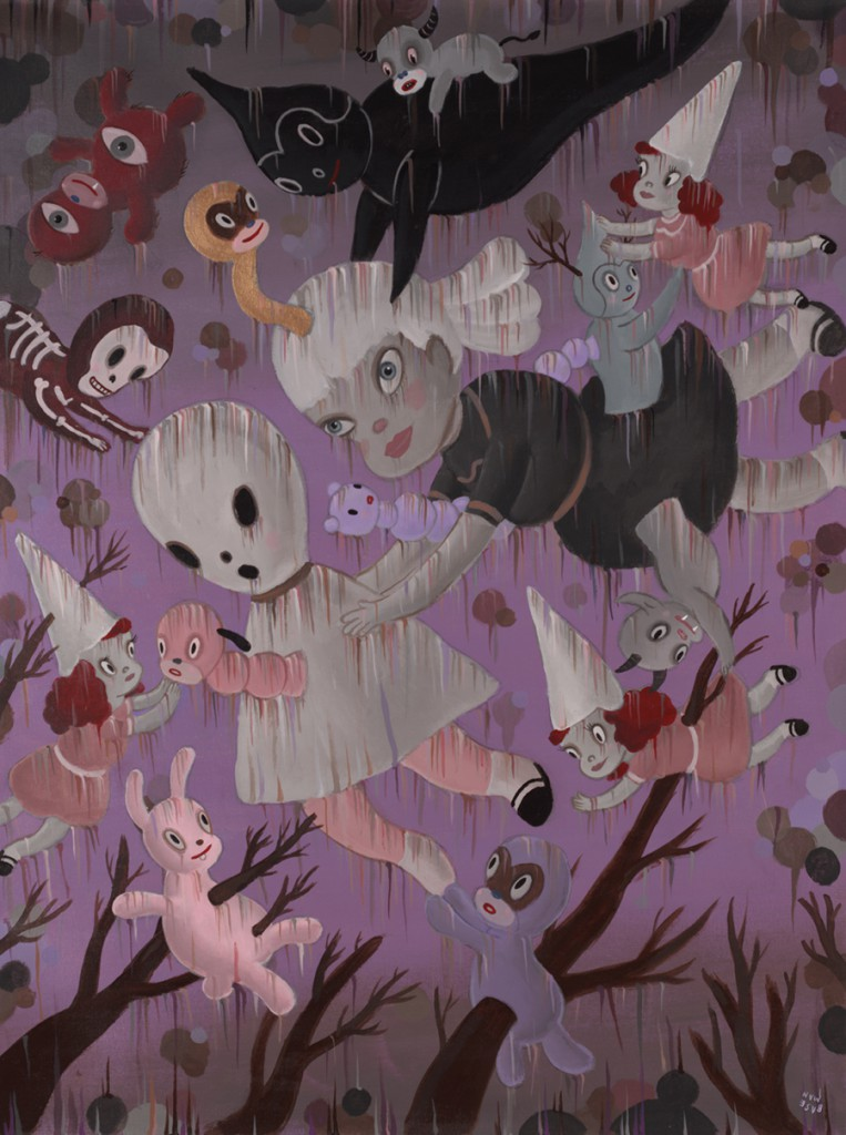 Gary  Baseman -  <strong>Genesis of Dream Reality</strong> (2011<strong style = 'color:#635a27'></strong>)<bR /> acrylic on canvas,   48 x 36 inches (121.92 x 91.44 cm)  51.5 x 40 inches, framed