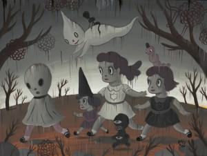 Gary  Baseman -  <strong>Hide and Go Seek</strong> (2011<strong style = 'color:#635a27'></strong>)<bR /> acrylic on canvas,   18 x 24 inches (45.72 x 60.96 cm)  23 x 29 inches, framed