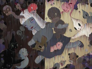 Gary  Baseman -  <strong>Imaginary Walls (1)</strong> (2011<strong style = 'color:#635a27'></strong>)<bR /> acrylic on canvas,   18 x 24 inches (45.72 x 60.96 cm)  23 x 29 inches, framed
