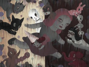 Gary  Baseman -  <strong>Imaginary Walls (2)</strong> (2011<strong style = 'color:#635a27'></strong>)<bR /> acrylic on canvas,   18 x 24 inches (45.72 x 60.96 cm)  23 x 29 inches, framed