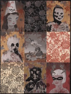 Gary  Baseman -  <strong>In Memoriam Truth</strong> (2011<strong style = 'color:#635a27'></strong>)<bR /> mixed media on canvas,   48 x 36 inches (121.92 x 91.44 cm)  53 x 41.5 inches, framed