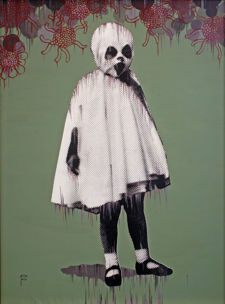 Gary  Baseman -  <strong>La Petite Mort (green)</strong> (2011<strong style = 'color:#635a27'></strong>)<bR /> mixed media on canvas,   48 x 36 inches (121.92 x 91.44 cm)  52 x 39.75 inches, framed