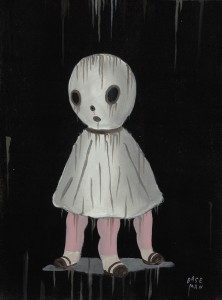 Gary  Baseman -  <strong>La Petite Mort with Appendage</strong> (2011<strong style = 'color:#635a27'></strong>)<bR /> acrylic on canvas,   16 x 12 inches (40.64 x 30.48 cm)  21 x 17 inches, framed