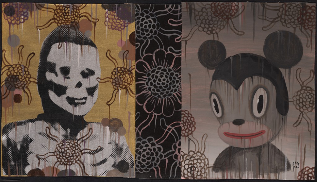 Gary  Baseman -  <strong>Morris Mouse (In Memoriam)</strong> (2011<strong style = 'color:#635a27'></strong>)<bR /> acrylic on canvas,   16 x 28 inches (40.64 x 71.12 cm)  19 x 31.25 inches, framed