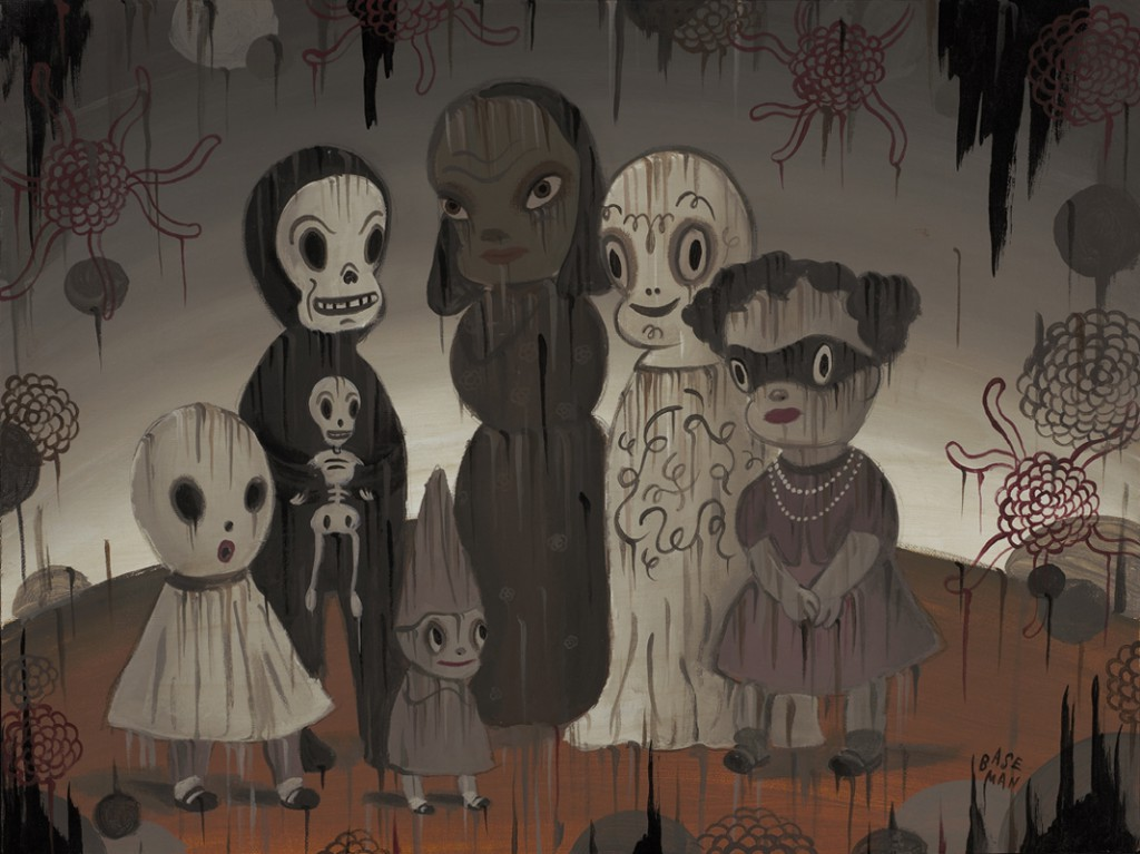 Gary  Baseman -  <strong>Mystic Order of the Cypress Park Beauty Salon</strong> (2011<strong style = 'color:#635a27'></strong>)<bR /> acrylic on canvas,   18 x 24 inches (45.72 x 60.96 cm)   23 x 29 inches, framed