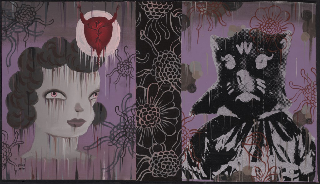 Gary  Baseman -  <strong>Shirley (In Memoriam)</strong> (2011<strong style = 'color:#635a27'></strong>)<bR /> mixed media on canvas,   16 x 28 inches (40.64 x 71.12 cm)  19 x 31.25 inches, framed
