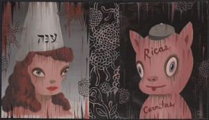 Gary  Baseman -  <strong>Spongecake and Pork (In Memoriam)</strong> (2011<strong style = 'color:#635a27'></strong>)<bR /> mixed media on canvas,   16 x 28 inches (40.64 x 71.12 cm)  19 x 31.25 inches, framed