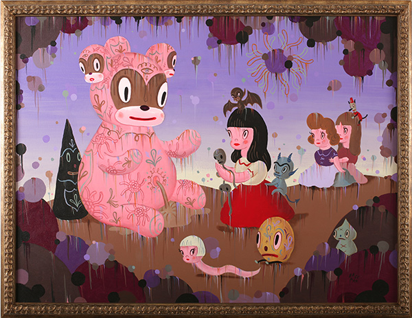 Gary  Baseman -  <strong>The Temptation of Forever</strong> (2009<strong style = 'color:#635a27'></strong>)<bR /> acrylic on canvas,   36 x 48 in. (91.4 x 121.9 cm),   40 1/4 x 52 3/8 in. (102.2 x 133 cm) framed