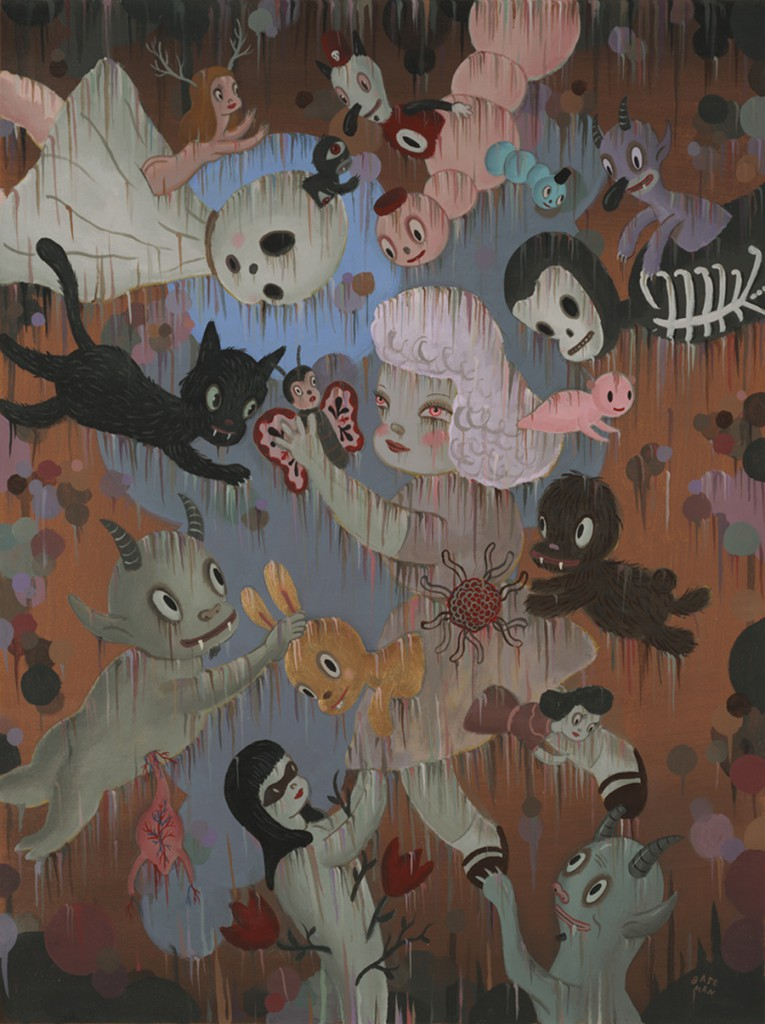 Gary  Baseman -  <strong>The Emancipation of Everything and Nothing</strong> (2011<strong style = 'color:#635a27'></strong>)<bR /> acrylic on canvas,   48 x 36 inches (121.92 x 91.44 cm)  51.5 x 40 inches, framed