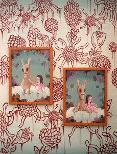Gary  Baseman -  <strong>The Other Side of the Wall</strong> (2011<strong style = 'color:#635a27'></strong>)<bR /> acrylic on canvas,   48 x 36 inches   (121.92 x 91.44 cm)