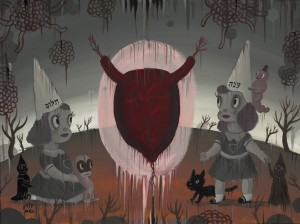 Gary  Baseman -  <strong>The Ultimate Master</strong> (2011<strong style = 'color:#635a27'></strong>)<bR /> acrylic on canvas,   18 x 24 inches (45.72 x 60.96 cm)  23 x 29 inches, framed