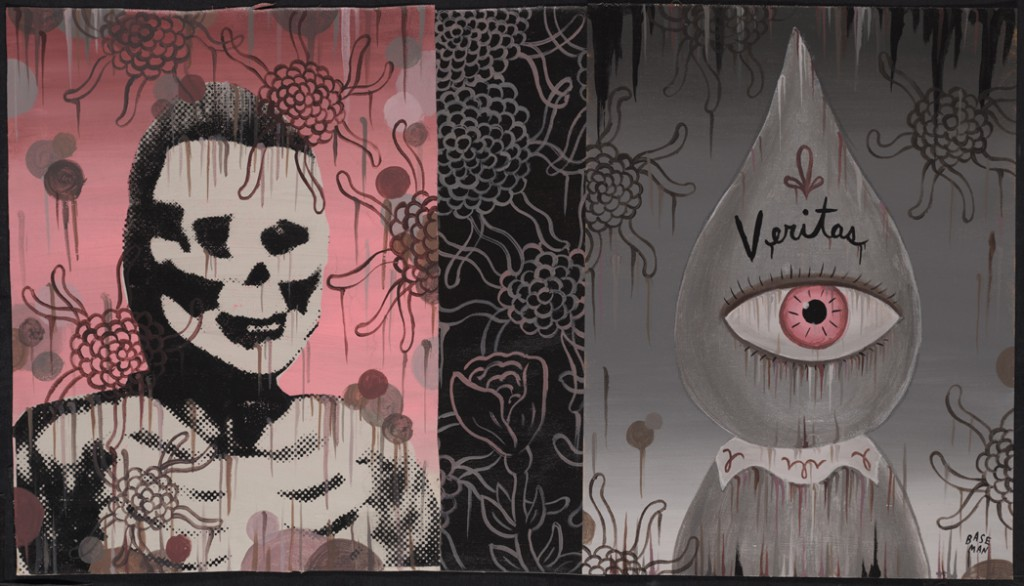Gary  Baseman -  <strong>Veritas (In Memoriam)</strong> (2011<strong style = 'color:#635a27'></strong>)<bR /> mixed media on canvas,   16 x 28 inches (40.64 x 71.12 cm)  19 x 31.25 inches, framed
