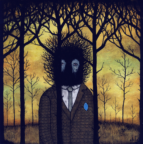 Andy  Kehoe -  <strong>Be Wary of the Dark Places</strong> (2009<strong style = 'color:#635a27'></strong>)<bR /> acrylic and oil on panel,   8 x 8 inches