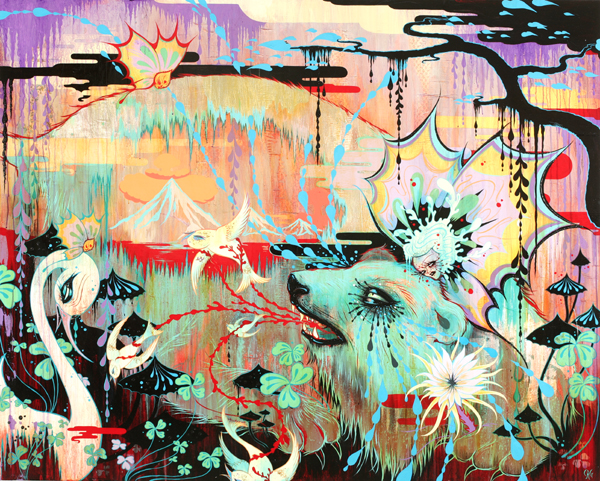 Camille Rose  Garcia -  <strong>Dreamtime Spring Hijack</strong> (2008<strong style = 'color:#635a27'></strong>)<bR /> Acrylic, Silver Leaf  and Glitter on Wood Panel,   48 x 60 inches