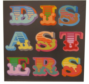 Ben Eine -  <strong>Disasters</strong> (2013<strong style = 'color:#635a27'></strong>)<bR /> spray paint stencil on canvas 40 x 40 in.