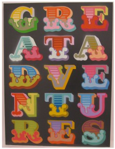 Ben Eine -  <strong>Great Adventures</strong> (2013<strong style = 'color:#635a27'></strong>)<bR /> spray paint stencil on canvas 31 1/2 x 31 1/2 in.