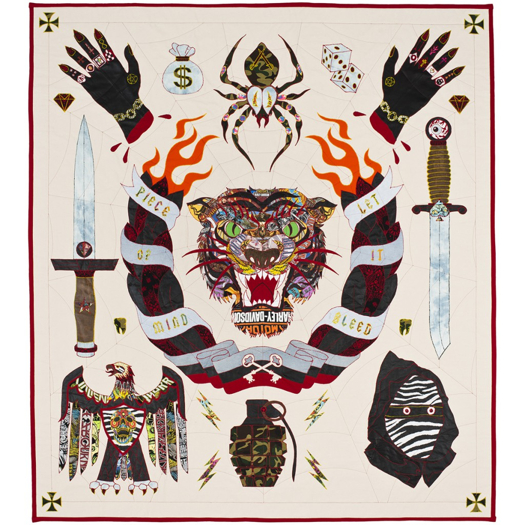 Ben  Venom -  <strong>All the Aces</strong> (2014<strong style = 'color:#635a27'></strong>)<bR /> hand-made quilt with recycled fabric,   95 x 105 inches  (241.30 x 266.70 cm)