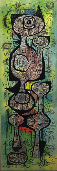 Tim  Biskup -  <strong>Untitled</strong> (2009<strong style = 'color:#635a27'></strong>)<bR /> acrylic on canvas,   30 x 10 in. (76.2 x 25.4 cm)