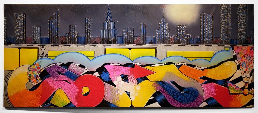 Blade  &nbsp -  <strong>The Old School Pulse of the City</strong> (2014<strong style = 'color:#635a27'></strong>)<bR /> spray paint and paint marker on canvas,   28 x 70 inches  (71.12 x 177.80 cm)