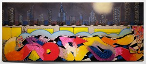 Blade    -  <strong>The Old School Pulse of the City</strong> (2014<strong style = 'color:#635a27'></strong>)<bR /> spray paint and paint marker on canvas,   28 x 70 inches  (71.12 x 177.80 cm)