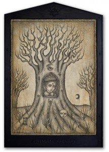 Daniel Martin Diaz -  <strong>Bleeding Tree</strong> (2005<strong style = 'color:#635a27'></strong>)<bR /> Oil Pencil on Wood   52&amp;quot; x 35&amp;quot;  -Contact Gallery for Availability-