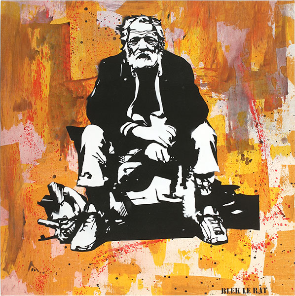 Blek le Rat  &nbsp -  <strong>Le Misérable</strong> (2010<strong style = 'color:#635a27'></strong>)<bR /> spray paint on canvas,   31 x 31 in.   (78.7 x 78.7 cm)
