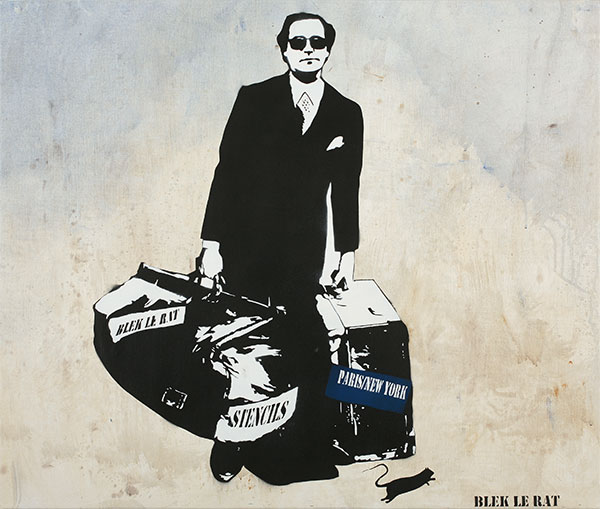 Blek le Rat  &nbsp -  <strong>The Man Who Walks Through Walls (Paris/New York)</strong> (2010<strong style = 'color:#635a27'></strong>)<bR /> spray paint on canvas,   34 x 29 in.   (86.4 x 73.7 cm)
