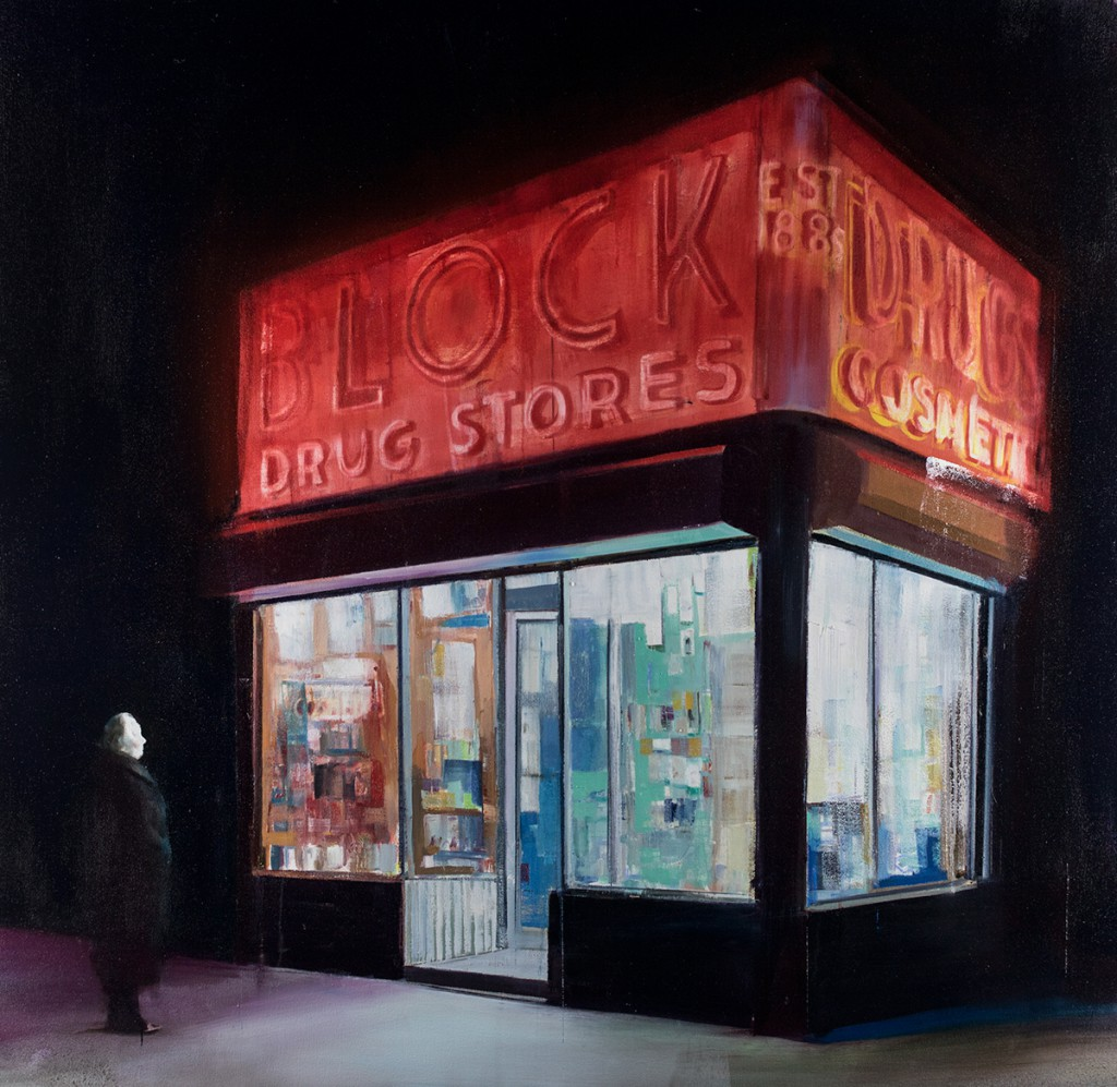 Brett Amory -  <strong>Block Drugs (Waiting #246)</strong> (2015<strong style = 'color:#635a27'></strong>)<bR /> oil on canvas,   48 x 48 inches  (121.92 x 121.92 cm)