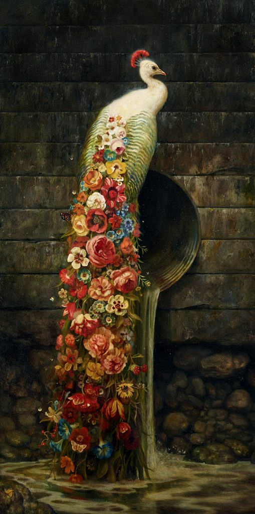 Martin Wittfooth -  <strong>Bloom</strong> (2015<strong style = 'color:#635a27'></strong>)<bR /> oil on canvas,   64 x 32 inches  (162.56 x 81.28 cm)